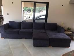 Vendo sofá cor azul Jeans, com baú