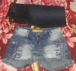 Vendo uma calça semi nova ir um chort saia jeans