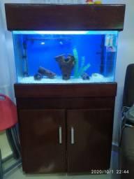 Vendo aquário completo 80litros.