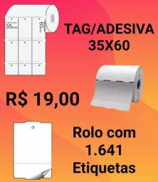 Etiqueta Tag Adesiva 35x60 rolo com 1640 etiquetas