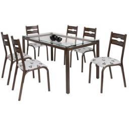 Belissimo Conjunto de Mesa 6 cadeiras Com Tampo de Vidro Com Entrega e Montagem Gratis!!