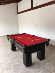 Mesa de Bilhar Charme Preta Tx Tecido Vermelho Modelo LLK6415