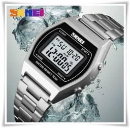 Relógio Digital Skmei Retro Silver