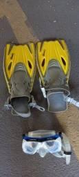 Óculos e pé de pato para mergulho (infantil)