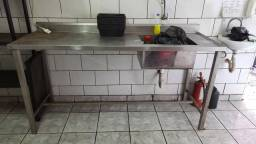 Pia inox cozinha 1,80 x 0,62 x 0,93