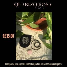 Pingente coração de Quartzo Rosa + Corrente folheada a prata + Cordão encerado