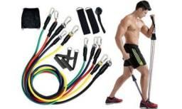 Kit elásticos pra treinos 11 peças pilates e extensor