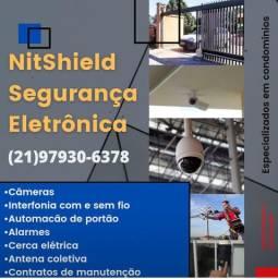 Câmeras/ Alarme/ interfone/ Automação de portão/ cerca elétrica/ concertina/ entre outros