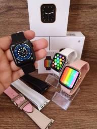 Smartwatch IWO 13 SE W26+ 44mm Série 6 Tela infinita, Botão Giratório, Android Iphone