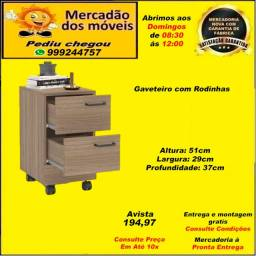 Gaveteiro 2 gavetas Castanho com Rodinhas 10x nos cartões(Entrega grátis)