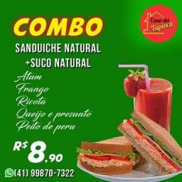 Sanduiche natural e suco natural