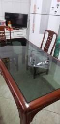 Mesa retangular com vidro temperado