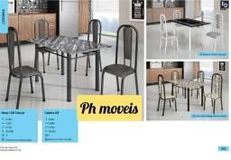 Mesa com 4 cadeiras 1,20 * *