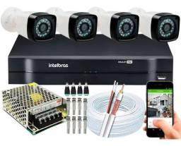 Kit 4 Cameras Segurança 1080p Hd Dvr Intelbras 4ch