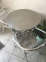 MESA INOX COM 2 cadeiras