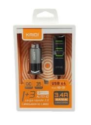 Título do anúncio: Carregador Veicular Turbo 3.4A Kaidi KD-131 4 Portas USB 12V ou 24V Uber Taxi