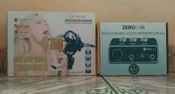 Título do anúncio: Interface de audio rad 048 + microfone bm800 (kit home Studio)