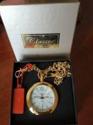 Relógio de Bolso Todo Dourado