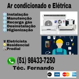Instalação e manutenção de ar condiconado split e Eletricista