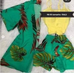 Conjunto de 2 peças kimono + shorts