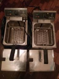 2 máquinas fritadeiras profissional inox