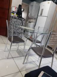 Mesa cromada 4 cadeira