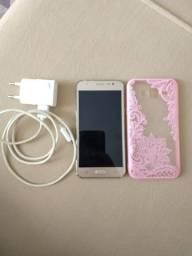 Celular Samsung J5 dourado 16Gb
