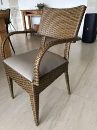 Cadeira de junco sintético e tecido impermeável,