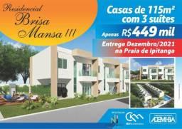 Casa 3/4 em condomínio Brisa Mansa 3 em Praia de Ipitanga