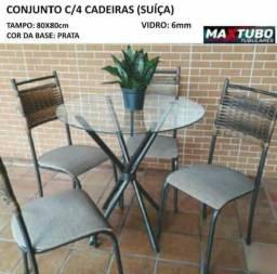 Mesa Tampo De Vidro 4 cadeiras - suiça