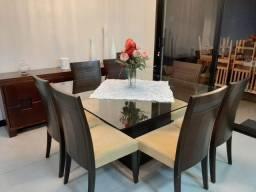 Sala de Jantar com Buffet - Tampo de Vidro - 8 cadeiras