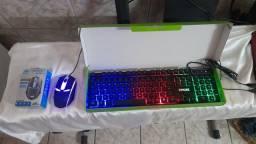Kit teclado e mouse gamer preto led rgb