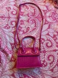 Bolsa croco rosa NOVA