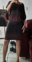 Vestido vinho e preto TOLI Brechó bazar desapego