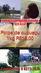 Polpa de cupuaçu cortado na tesoura sem água 1kg 15,00