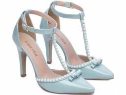 Sapato Feminino Salto Alto Verniz Azul Scarpin Torricella Mod.66058D