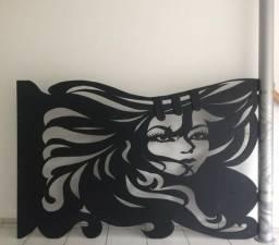 Painel em madeira rosto feminino para salão de beleza! Parcelamos no cartão