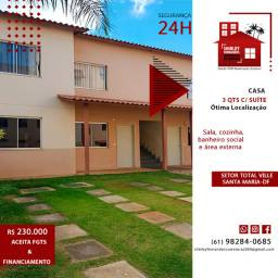 Casa 3 Quartos c/Suíte - Setor Total Ville Santa Maria-DF