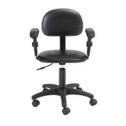 Cadeira Giratória com Braço Digitador para Escritório ou Home Office Preta