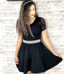 Vestido de renda preto com cinto lançamento