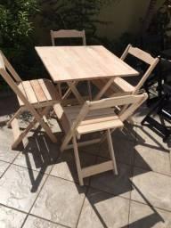 Conjunto Dobrável com mesa e cadeiras - 100% em madeira