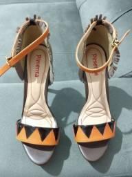 Sandália salto alto laranja e marrom número 36