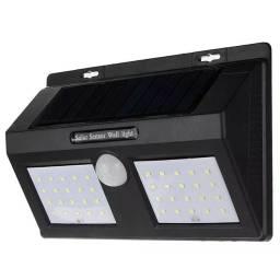 Luminária Solar Dupla 40 Leds Com Sensor Presença Movimento Lâmpada Fotocélula