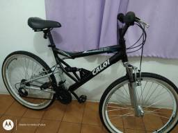 Bicicleta aro 26 Caloi KS de Alumínio 21 marchas folha aero cubo roletado Full suspensão
