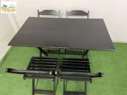 Conjunto de Madeira Mesa 1,20 x 0,70 + 4 Cadeiras - Linha Econômica