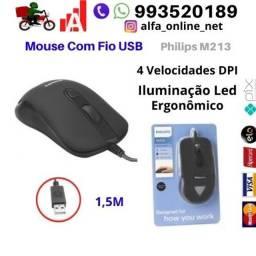 Mouse com fio Usb Philips 4 velocidades Iluminação Led