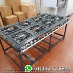 Fogão Industrial BP Luxo Queimadores Duplo 8 Bocas 40x40 Peril 8 MR Fogões