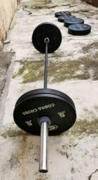 Kit Home Box - Anilhas bumper + Barra olímpica