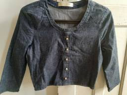 Cropped  jeans tamanho PP com strech