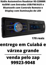 Rádio Automotivo Roadstar com Entradas USB/FM/AUX/M-SD e Bluetooth